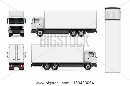 Semi truck template for car branding and advertising. Isolated cargo vehicle set on white background. All layers and groups well organized for easy editing and recolor. View from side front back top.