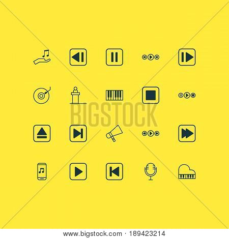 Audio Icons Set. Collection Of Music Control, Audio Mobile, Extract Device And Other Elements. Also Includes Symbols Such As Bullhorn, Pause, Keyboard.