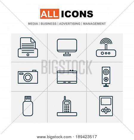 Gadget Icons Set. Collection Of Gadget, Print Device, Speaker And Other Elements. Also Includes Symbols Such As Printer, Drive, Phone.
