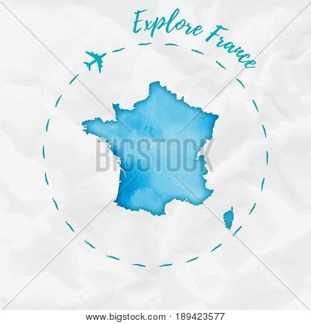 France Watercolor Map In Turquoise Colors. Explore France Poster With Airplane Trace And Handpainted