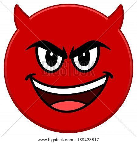 A vector illustration of a Evil Emoticon.