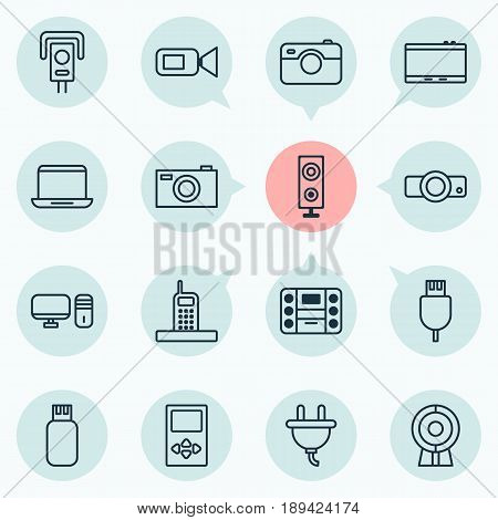 Device Icons Set. Collection Of Call, Security Camera, Photographing And Other Elements. Also Includes Symbols Such As Call, Security, Gadget.