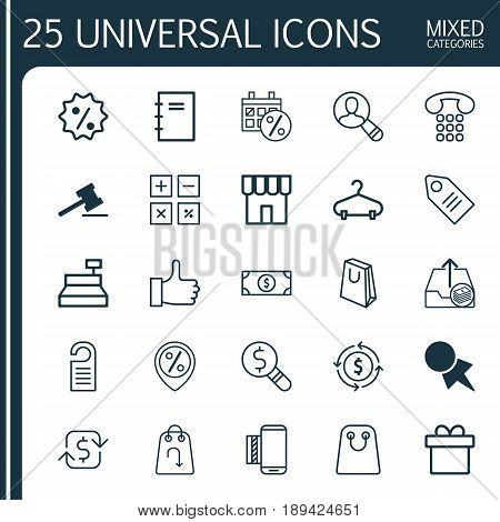 Commerce Icons Set. Collection Of Buck, Callcentre, Spiral Notebook And Other Elements. Also Includes Symbols Such As Peg, Telephone, Gift.