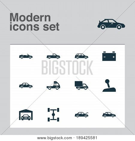 Automobile Icons Set. Collection Of Lorry, Van, Automobile And Other Elements. Also Includes Symbols Such As Lever, Repairing, Fixing.