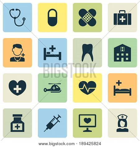 Antibiotic Icons Set. Collection Of Drug, Polyclinic, Tent And Other Elements. Also Includes Symbols Such As Injection, Tent, Doctor.