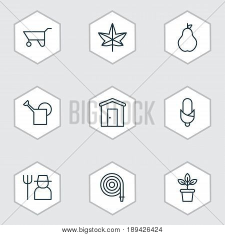 Icons Set. Collection Of Farmhouse, Flowerpot, Bailer And Other Elements. Also Includes Symbols Such As Ranch, Labor, Windfall.