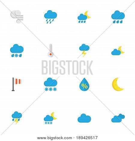 Nature Flat Icons Set. Collection Of Lightning, Overcast, Frosty And Other Elements. Also Includes Symbols Such As Clouds, Hot, Blizzard.