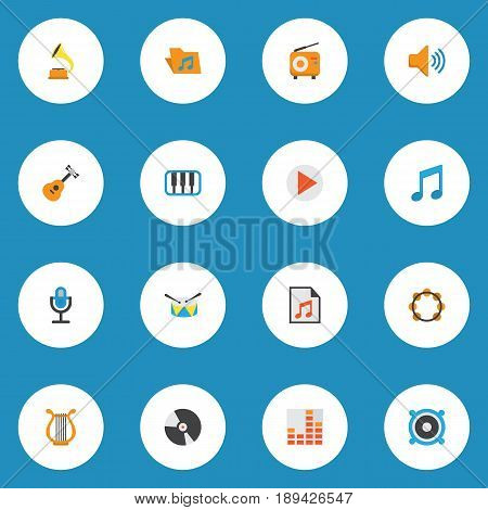 Audio Flat Icons Set. Collection Of Dj, Controlling, Acoustic And Other Elements. Also Includes Symbols Such As Pianoforte, Synthesizer, Microphone.