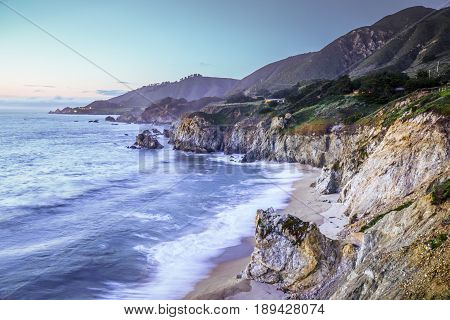 The Pacific Coast at Gig Sur - beautiful evening view - CALIFORNIA