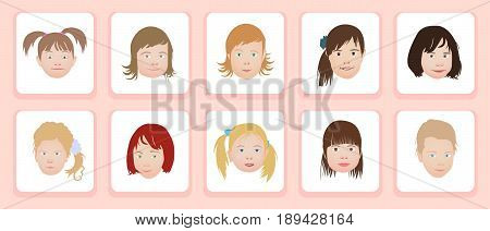 A set of kids head icon collection isolated on white background. Little girls avatars. Children characters profile pictures. Freely editable vector images.