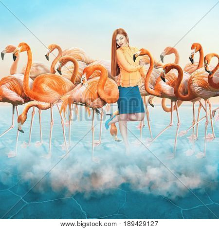 Compositing with a range of beautiful red flamingo in the blue desert with colorful sunset sky and elegant dressed up girl with a long hair in the middle