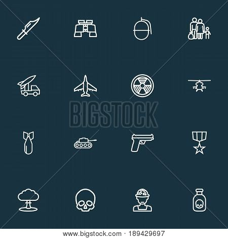 Battle Outline Icons Set. Collection Of Panzer, Fugitive, Cutter And Other Elements. Also Includes Symbols Such As Refugee, Weapons, Atom.