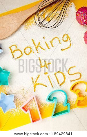 Baking 4 Kids - flour writing - with baking shapes