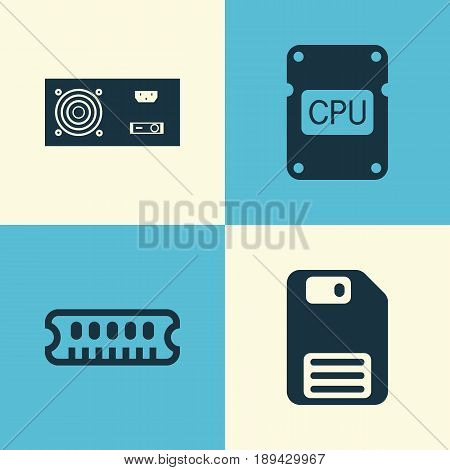 Computer Icons Set. Collection Of Power Generator, Diskette, Cpu And Other Elements. Also Includes Symbols Such As Save, Dskette, Ram.