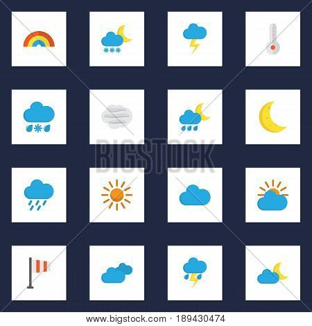 Climate Flat Icons Set. Collection Of The Flash, Frosty, Shower And Other Elements. Also Includes Symbols Such As Rain, Temperature, Cloudy.