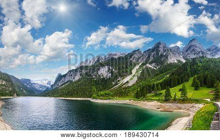 Alpine Summer Lake Sunshiny Panorama.