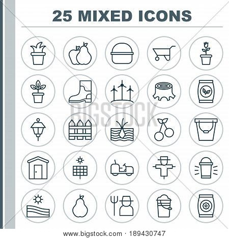Gardening Icons Set. Collection Of Pail, Lantern, Barrier And Other Elements. Also Includes Symbols Such As Lantern, Protection, Stub.