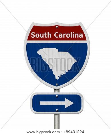 Road trip to South Carolina Red white and blue interstate highway road sign with word South Carolina and map of South Carolina isolated over white 3D Illustration