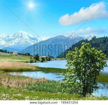 Summer Sunshiny Mountain Landscape With Lake (italy)