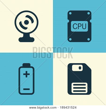 Computer Icons Set. Collection Of Web Camera, Battery, Diskette And Other Elements. Also Includes Symbols Such As Chip, Cpu, Accumulator.