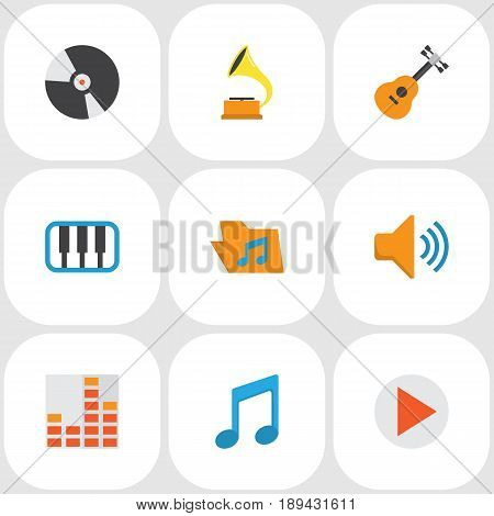 Multimedia Flat Icons Set. Collection Of Dj, Audio, Tone And Other Elements. Also Includes Symbols Such As Audio, Gramophone, Phonograph.