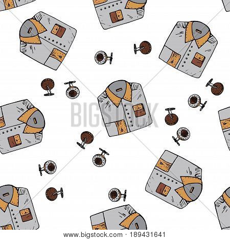 Seamless vector pattern with doodle man symbols. Doodle illustration with shirts and cufflinks.