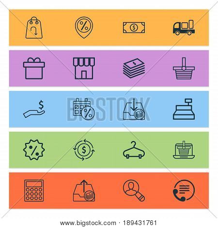Commerce Icons Set. Collection Of Discount Location, Refund, Withdraw Money And Other Elements. Also Includes Symbols Such As Hall-Stand, Peg, Wealth.