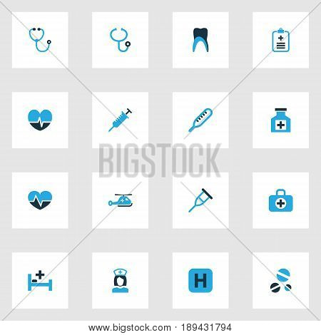 Medicine Colorful Icons Set. Collection Of Remedy, Polyclinic Helipad, Stethoscope And Other Elements. Also Includes Symbols Such As Form, Claw, Drug.