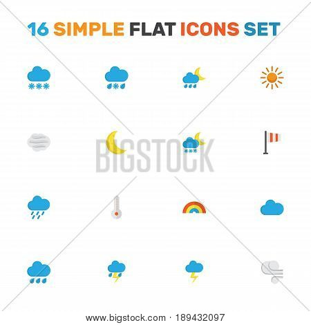 Climate Flat Icons Set. Collection Of Temperature, Hailstones, Drizzles And Other Elements. Also Includes Symbols Such As Blizzard, Rain, Cloudy.