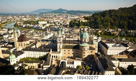 Panoramic view of the cathedral (Dom zu Salzburg - Salzburg Cathedral) opening from the Hohensalzburg Castle. A view of the old city from the mountain in Salzburg.