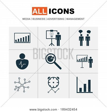 Board Icons Set. Collection Of Personal Character, Team Meeting, Bar Chart And Other Elements. Also Includes Symbols Such As Graph, Person, Timeout.