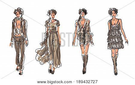 Sketch Fashion Women Models in gray and brown