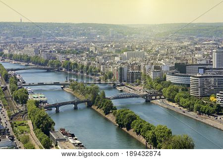 Aerial view from Eiffel Tower on Paris France