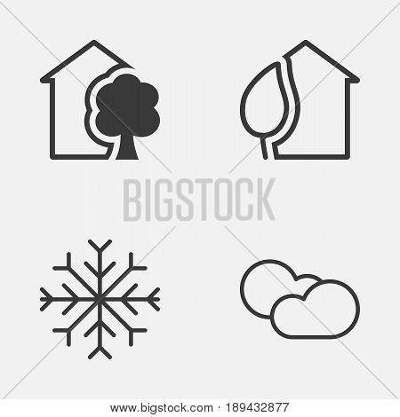 Eco-Friendly Icons Set. Collection Of Snow, Cloud Cumulus, House And Other Elements. Also Includes Symbols Such As Cumulus, Snowflake, Building.