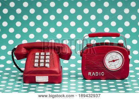 Decorative Red Radio And Telephone With Retro Look