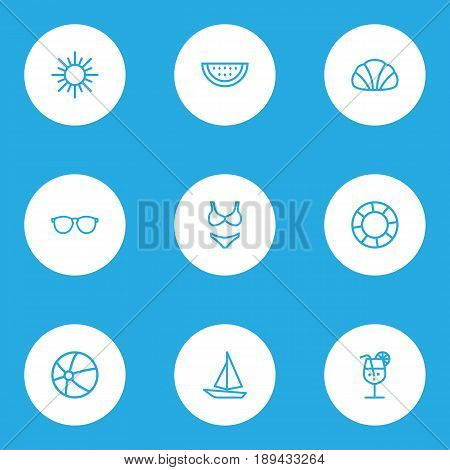 Season Outline Icons Set. Collection Of Ship, Glasses, Beachwear And Other Elements. Also Includes Symbols Such As Berry, Boat, Sail.