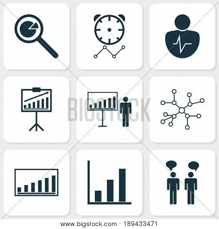 Board Icons Set. Collection Of Reminder, Conversation, Company Statistics And Other Elements. Also Includes Symbols Such As Timeout, Project, Discussion.