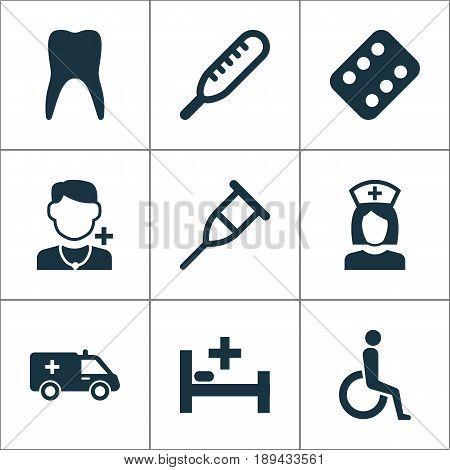 Medicine Icons Set. Collection Of Remedy, Handicapped, Ache Elements. Also Includes Symbols Such As Health, Medicament, Stand.