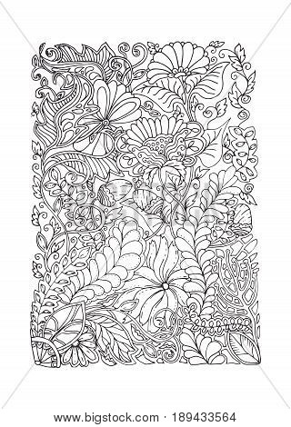Adult coloring page spring design, black and white color, antistress calming pattern, monochrome vector illustration in zentangle style art