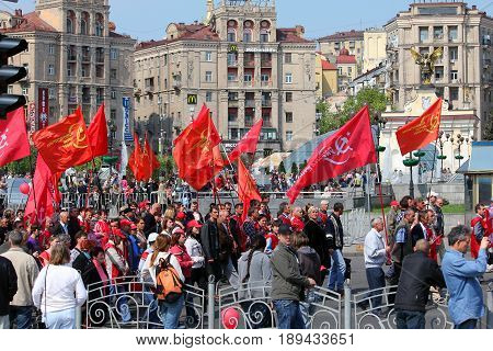 KIEV, UKRAINE - MAY 1, 2011: This is one of the last May Day demonstrations under communist slogans in the city.