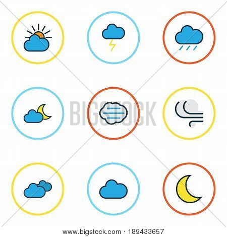 Weather Colorful Outline Icons Set. Collection Of Tempest, Cloudy Day, Moonbeam And Other Elements. Also Includes Symbols Such As Clouded, Breeze, Twilight.