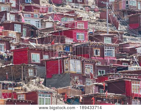 Red village and monastery at Larung gar (Buddhist Academy) in Sichuan China