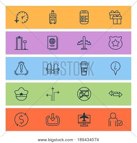 Travel Icons Set. Collection Of Globetrotter, Info Pointer, Money Trasnfer And Other Elements. Also Includes Symbols Such As Booking, Badge, Takeaway.