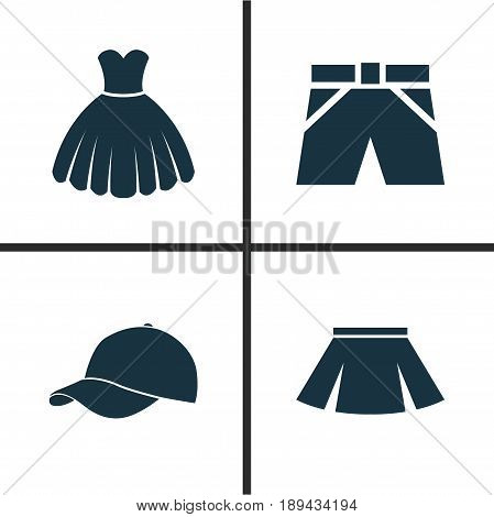 Clothes Icons Set. Collection Of Sarafan, Trunks Cloth, Stylish Apparel And Other Elements. Also Includes Symbols Such As Cap, Sarafan, Sundress.