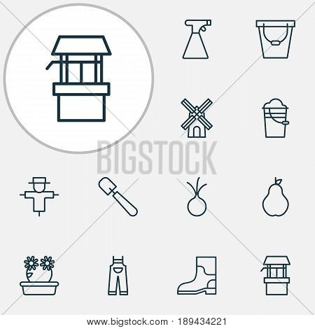 Garden Icons Set. Collection Of Floweret, Rubber Boot, Water Source And Other Elements. Also Includes Symbols Such As Onion, Scarecrow, Garlic.