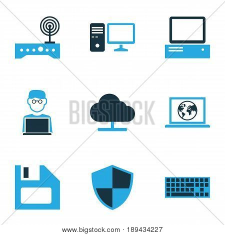 Computer Colorful Icons Set. Collection Of Connection, Firewall, Computer And Other Elements. Also Includes Symbols Such As Connection, Disk, Modem.