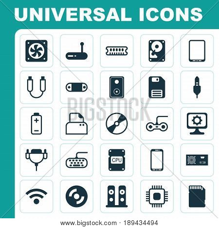 Computer Icons Set. Collection Of Cd-Rom, Hdd, Portable Memory And Other Elements. Also Includes Symbols Such As Sound, Aux, Tablet.