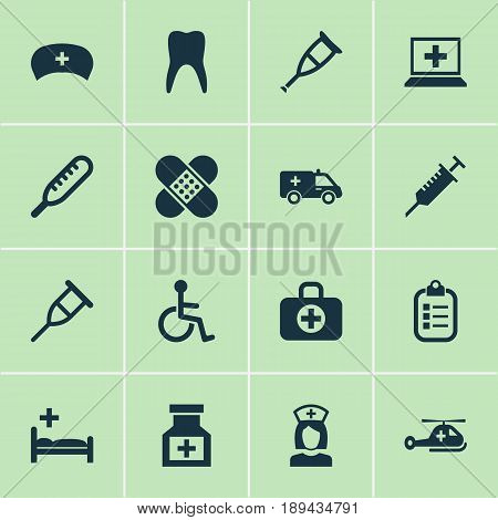 Medicine Icons Set. Collection Of Mark, First-Aid, Cap And Other Elements. Also Includes Symbols Such As Ache, Bandage, Medicament.