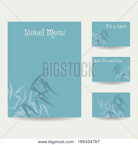 Set of blank templates. Business cards and letterhead paper. Illustration with hand-drawing ink illustration. Branches and bamboo leaves in blue gamma, traditional Chinese painting, Japanese art sumi-e, vector