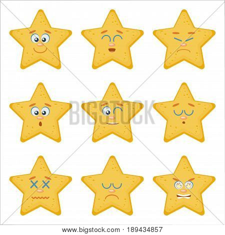 Set of Emoticons. Emoji flat cartoon set with sea starfish, can be used in a web chat, like a mascot on website, logo, emblem, avatar